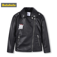 Balabala Kids Girls PU Leather Biker Jacket Toddler Girl Moto Jacket Children Kids Jacket Winter Coat Outwear Clothes Clothing(China)