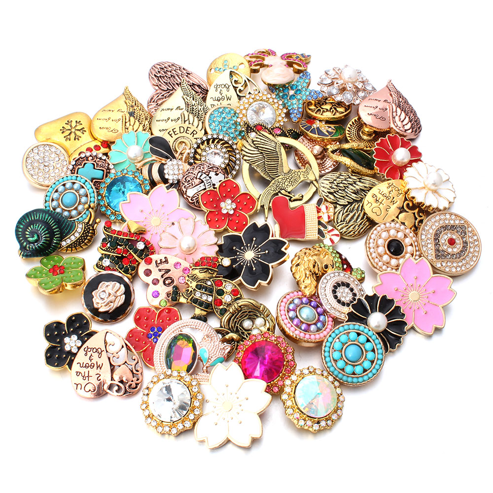 Wholesale 10pcs/lot 18mm Snap Jewelry Mix Many Styles 18mm Metal Snap buttons Gold Rose Gold Buttons Rhinestone Snaps Jewelry image