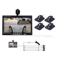 7 дюймов 4 Экран автомобильный монитор + четыре вида видео Фоточувствительный автомобиля Камера 360 панорамный вид сзади Камера Системы DY351