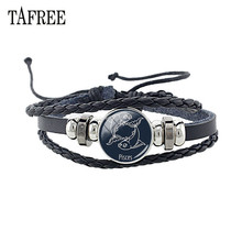 TAFREE Constellation PU Leather Bracelet Glass Picture Charm Personality Zodiac Sign Rope Bangles For Woman Man Gift XZ12