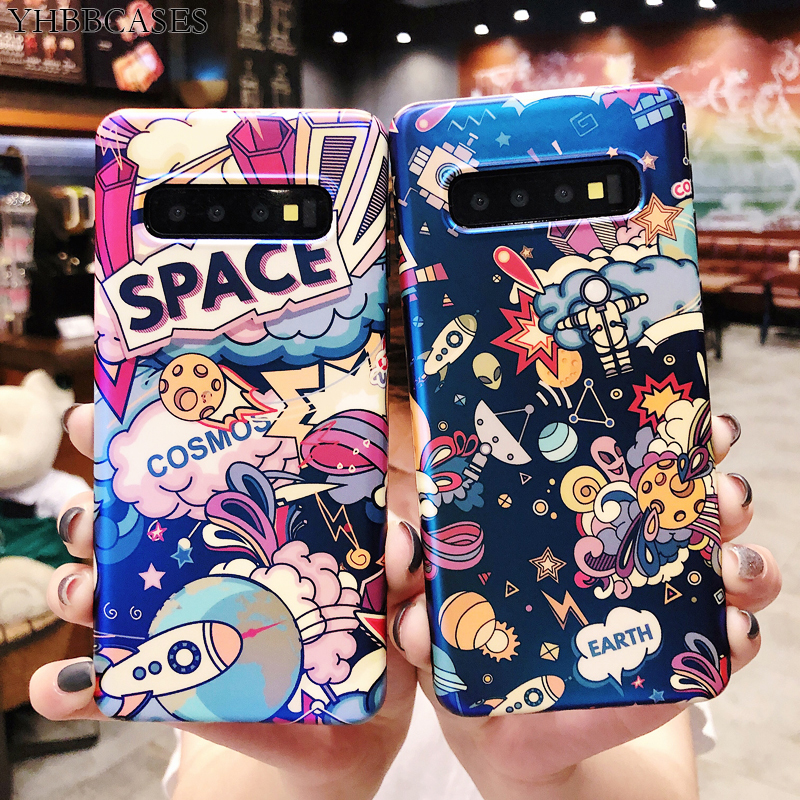 YHBBCASES Cartoon Planets War Phone Cover For Samsung Note 10 8 9 Blu-ray Rocket Spaceship Cases For Samsung Galaxy S10 S9 Plus image