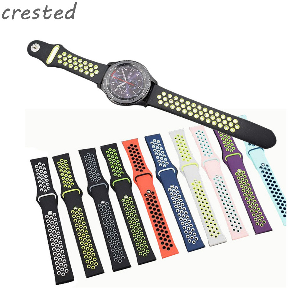 CRESTED sport silicone strap for samsung gear s3 replacement bracelet rubber band for samsung gear S3 watch band crested sport silicone strap for samsung gear s3 classic frontier replacement rubber band watch strap for samsung gear s3