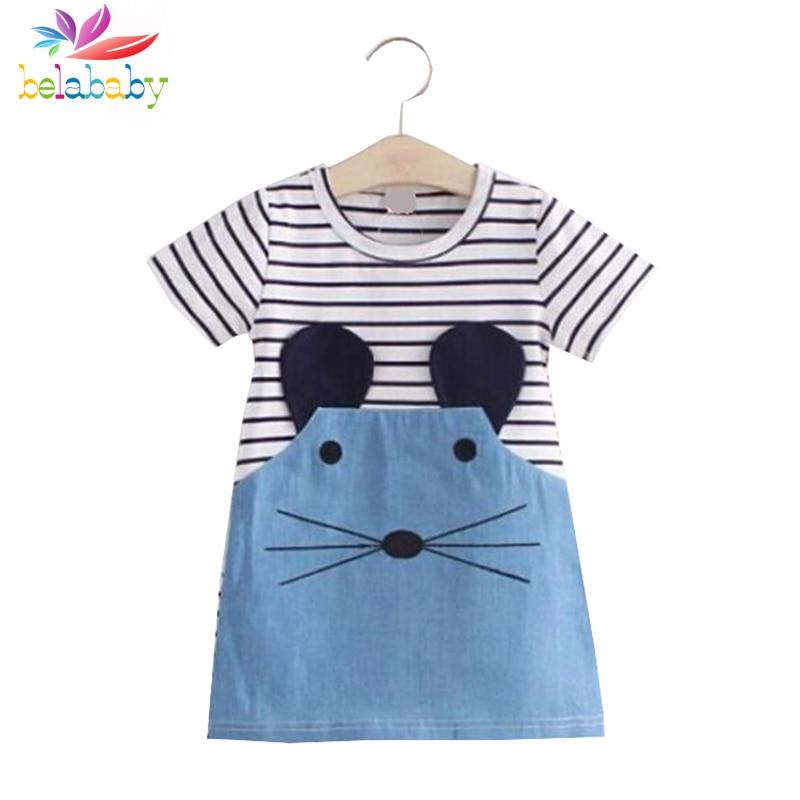 Belababy Girl Dresses Striped Patchwork Short Sleeve Cute Mouse Children Clothing Kids Girls Dress Denim Kids Clothes Vestidos