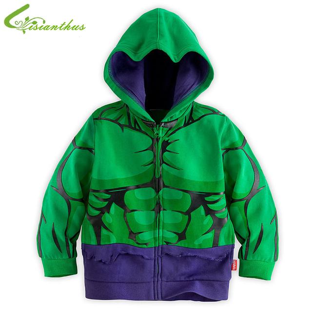 Muchachos niños de los Hoodies Hulk historieta de la chaqueta traje de superhéroe niños sudadera con capucha escudo abrigos ropa primavera linda envío de la gota libre