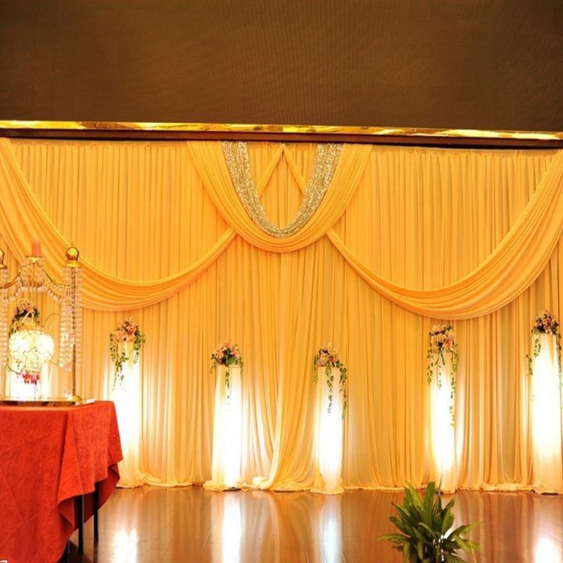 Top qualité luxe glace soie matériel 3 m x 6 m mariage fond jaune mariage scène toile de fond rideau événement fête décoration