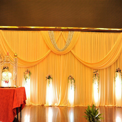 Top quality luxury ice silk material 3mx6m wedding background yellow wedding stage backdrop curtain event party decoration