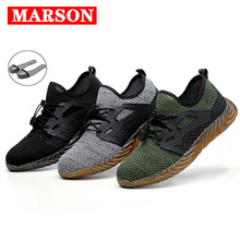 MARSON Safety Work Shoes Boots For Men Male Protective Steel Toe Cap Boots Anti-Smashing Construction Safety Work Sneakers safety shoes steel toe sole for men anti smashing work boots work safety protective shoes men shoes