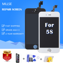 MLLSE AAA For iPhone 5S LCD Screen Ear Speaker A1453 A1457 No Dead Pixel Spot Touch Digitizer Assembly Replacement Free shipping
