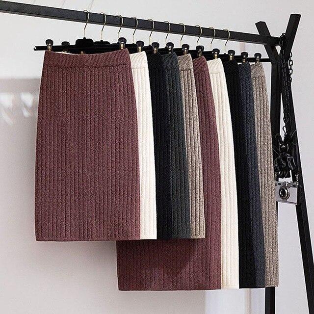 GIGOGOU 60-80CM Elastic Band Women Autumn Winter Warm Knitted Straight Skirt Ribbed