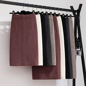 GIGOGOU Skirt Black Elastic-Band Mid-Long Ribbed Knitted Warm Autumn Winter Straight