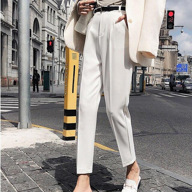 BGTEEVER OL Style White Women Pants Casual Sashes Pencil Pant High Waist Elegant Work Trousers Female Casual pantalon femme 1