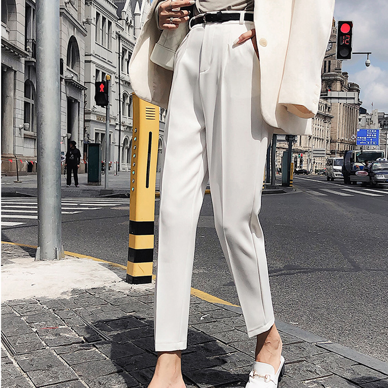 BGTEEVER OL Style White Women Pants Casual Sashes Pencil Pant High Waist Elegant Work Trousers Female Casual pantalon femme