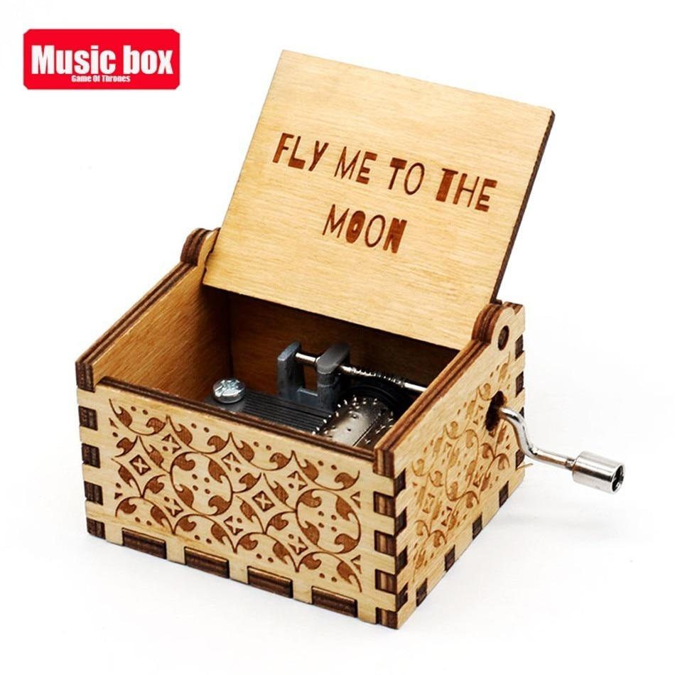 Новая музыкальная шкатулка La Vie En из розового дерева, крутые подарки на день рождения, детская вечеринка, Звездные войны, игра на трон, детские подарки - Цвет: fly me to the moon