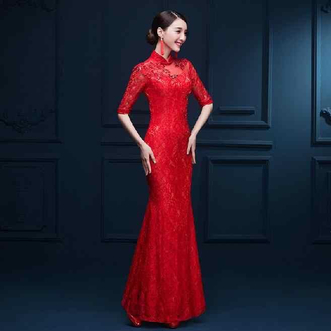 אמצע שרוול אדום ארוך Cheongsam תחרה Vintga הסיני מסורתי שמלות כלה חג המולד המפלגה Cheongsam שמלות Fishtail Qiapo