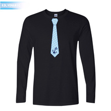 KOLVONANIG Brand Spring&fall Fashion Mens Patchwork T-shirt 2019 Fake Tie funny Printed T shirts O-neck long Sleeves Top Tees