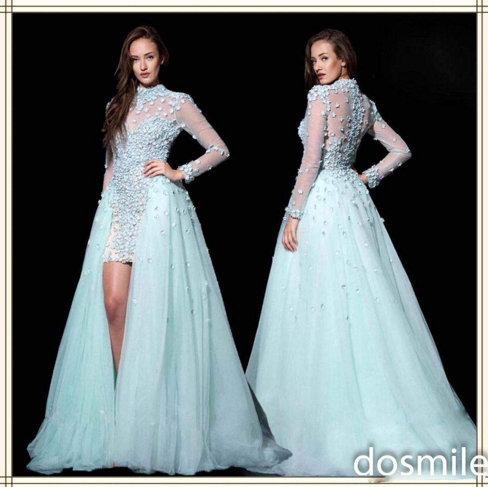 Aliexpress Com Buy Simple Elegant See Through Lace Part: Elegant Sheer High Neck See Through Back Long Sleeve Prom