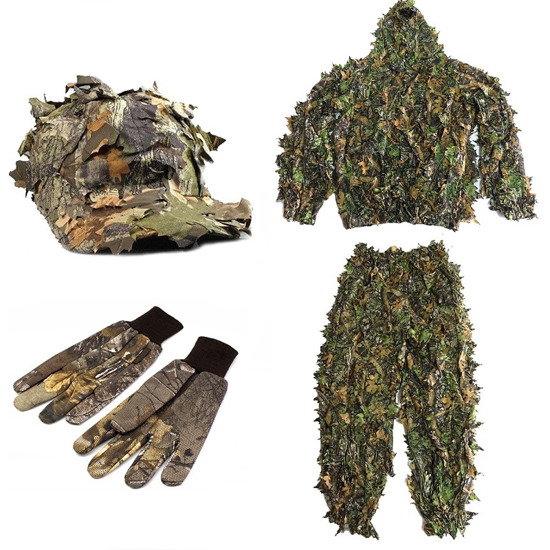 CS 3D Leaf Yowie Sniper Ghillie Suit Jungle Cap Camouflage Gloves Lightweight Breathable Hunting Clothes for