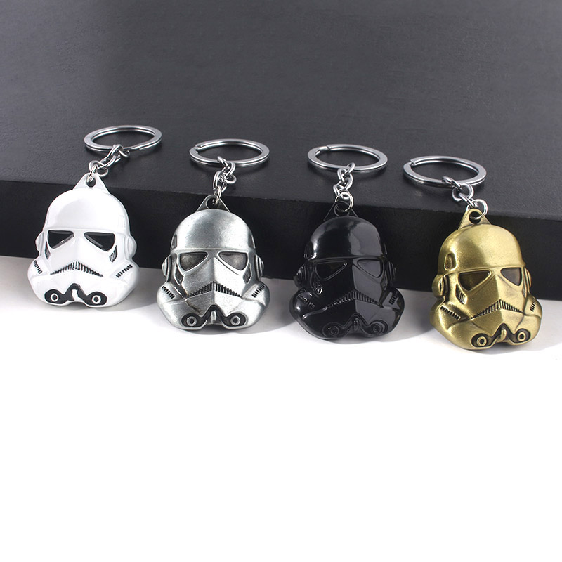 Movie Star Wars 9 Stormtrooper Keychain 3D Black Warrior Mask Metal Keychains For Men And Woman Fans Accessories