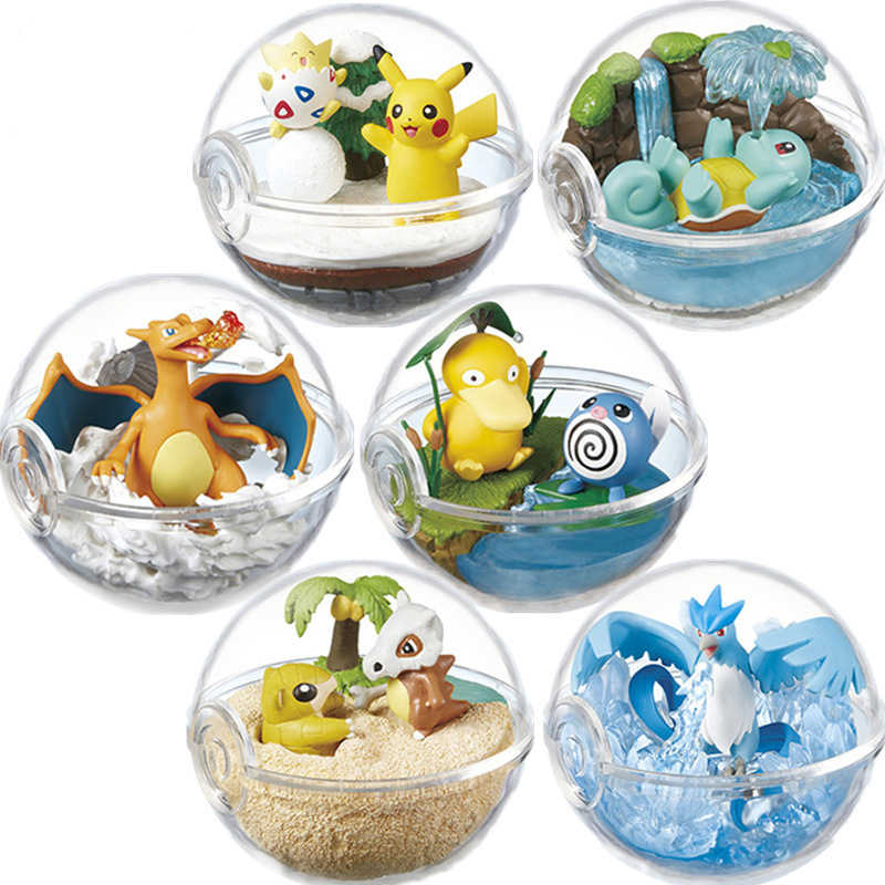 6pcs/set Transparent Ball with Pika Blastoise Charmander Squirtle Pokemon Action Figure Toys Room Decoration Gift for Kids