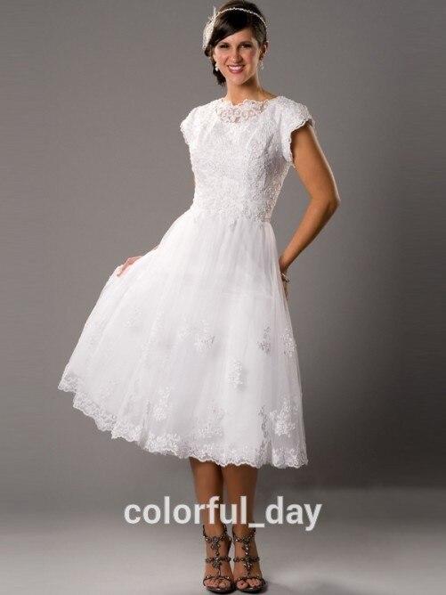 Mid Calf Wedding Dress Elegant Short Sleeve Scoop Neck Applique A