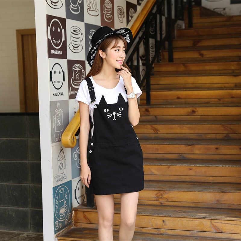 45a4157856 ... Black cute plus size lolita jeans overall braces dress with suspenders  women s clothing short mini cat ...