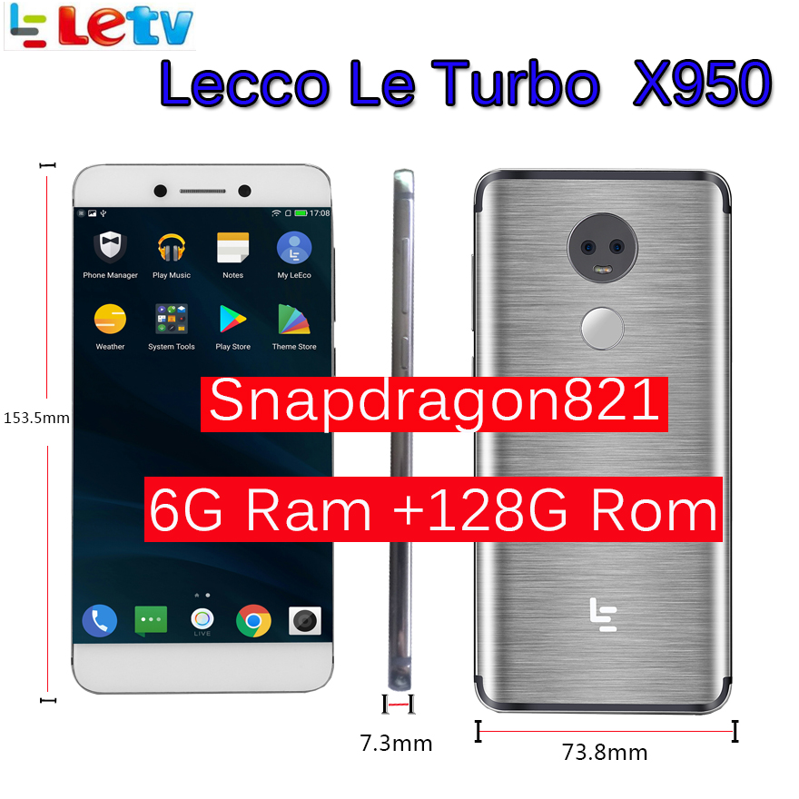 """Original Letv LeEco RAM 6GB ROM 128GB le Turbo X950 Dolby avec samsung écran 4G téléphone portable 5.5 """"pouces Snapdragon821 pk le max 2"""