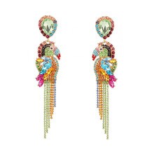 Bright Multicolored Parrot Dangle Earrings Long Full Rhinestone Tassel for Women ZA Bird Luxury Ear Jewelry ET1183
