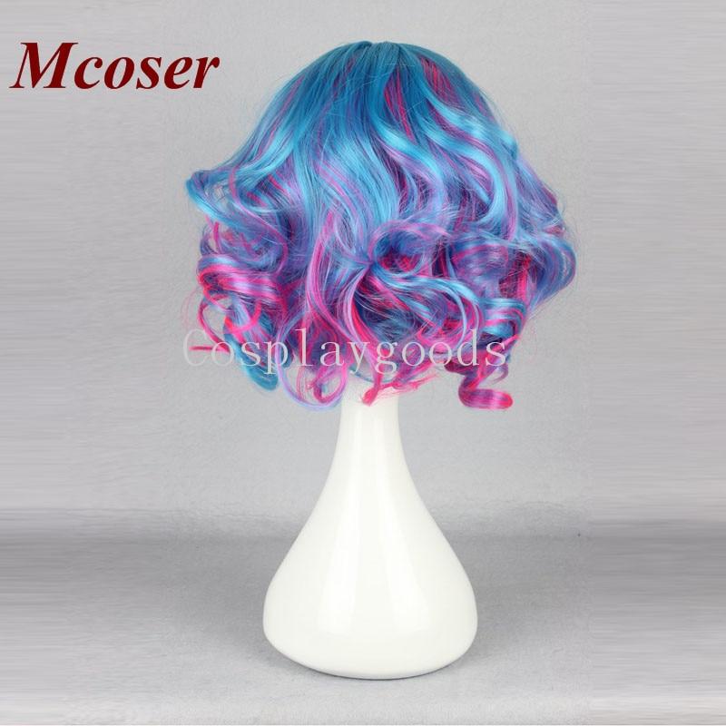 Mcoser 30 см Короткие вьющиеся синтетический синий микс Цвет 16 видов стилей Косплэй парик 100% Высокая Температура волокно