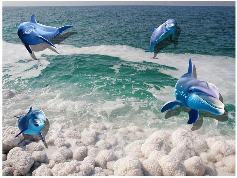 Pvc pavimento impermeabile 3d stereoscopico pesci marini pavimenti