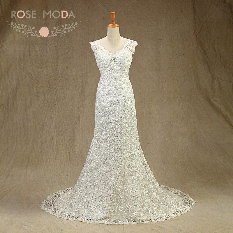 Rose Moda Lace Wedding Dress V Neck Mermaid Wedding Dresses Boho Crystal Brooch Summer Bridal Dresses Real Photos