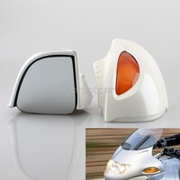 1pair High Quality ABS White Motorcycle Rearview Side Mirrors+Amber Turn Signal Lights For BMW R1100 RT R1100 RTP R1150 RT