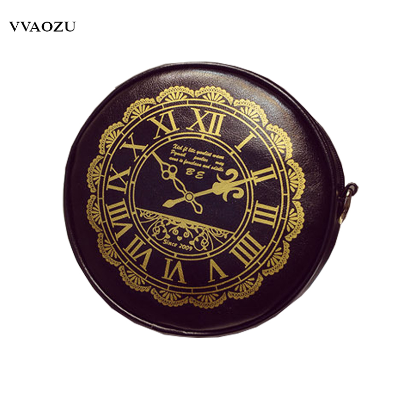 New Arrival Women PU Handbags Ladies Round Clock Print Shoulder Bags Lolita Crossbody Bags Messenger Bags