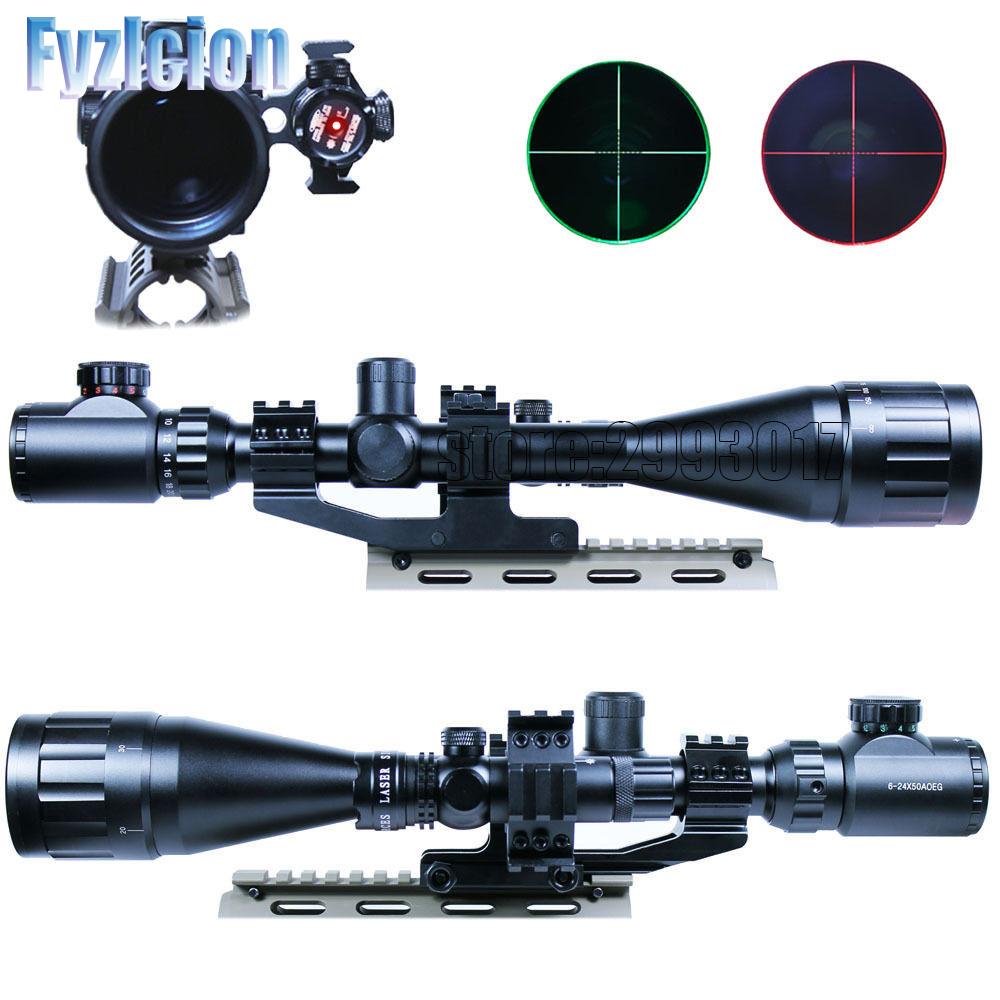 Fyzlcion 6-24x50 Hunting Tactical Optics Reflex Riflescopes Red/Green Dot Laser Illuminated Airsoft  Holographic Sight Scopes hunting red dot illuminated scopes for airsoft air guns riflescopes tactical reticle optics sight hunting luneta para rifle