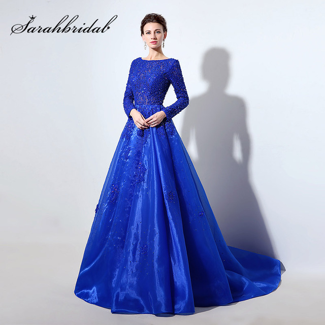 Long Sleeve Royal Blue Lace Bodice Ball Gown Evening Dresses with Beading  Crystal Organza Zipper Back Pageant Party Gowns LX045 774f9875dc40