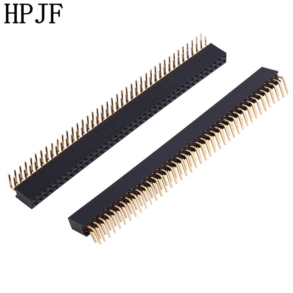 2PCS Pitch 2.54mm 2x40Pin 80 Pin Female Double Row Right Angle Straight Header Strip Connector Socket 5pcs pitch 2 54mm 2x40 pin 80 pin double row right angle male pin header strip connector
