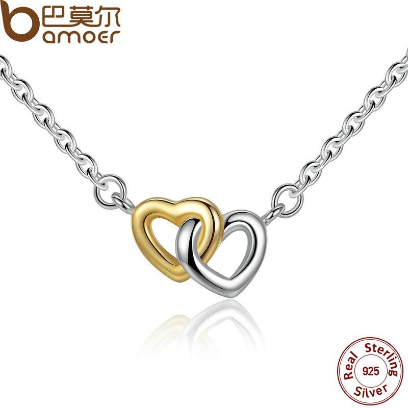 Prix pour Bamoer 925 sterling argent unis dans l'amour argent & petite chaîne collier et pendentif pour les femmes sterling-argent-bijoux psn011