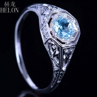 HELON 0.92ct Natural Sky Blue Topaz Ring 925 Sterling Silver Engagement Ring For Women Vintage Design Gifts Fine Jewelry