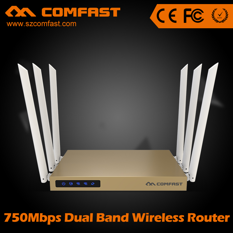 750Mbps 802.11ac Dual Band wireless ac wifi router with 6*6dBi antenna COMFAST CF-WR635AC 500mW 128MB high power wi fi router comfast full gigabit core gateway ac gateway controller mt7621 wifi project manager with 4 1000mbps wan lan port 880mhz cf ac200