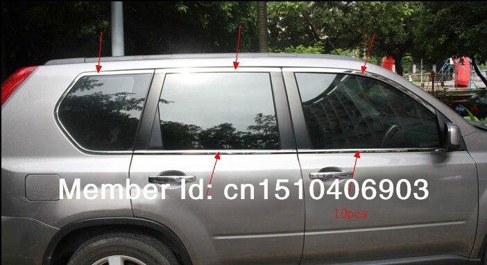 Pour Nissan x-trail 2008 2009 2010 2011 2012 2013 acier inoxydable cadre de fenêtre complet garniture de seuil 10 pièces décoration de voiture