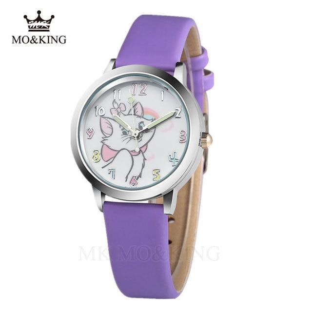 Cute Cat Cartoon Quartz Watch child leather Watches Cat Pattern Watch Women Wristwatches Clock Relogio Feminino girl Watches