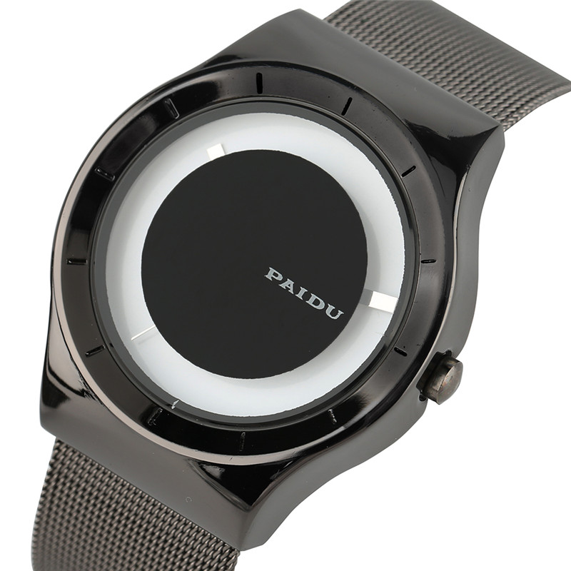 PAIDU Quartz Wrist Watch Men Minimalist Turntable Round Dial Creative Watches Steel Mesh Strap Fashion Casual Men's Clock Gift 2017 new gift enmex hit color steel frabic strap creative dial changing patterns simple fashion for young peoples quartz watches