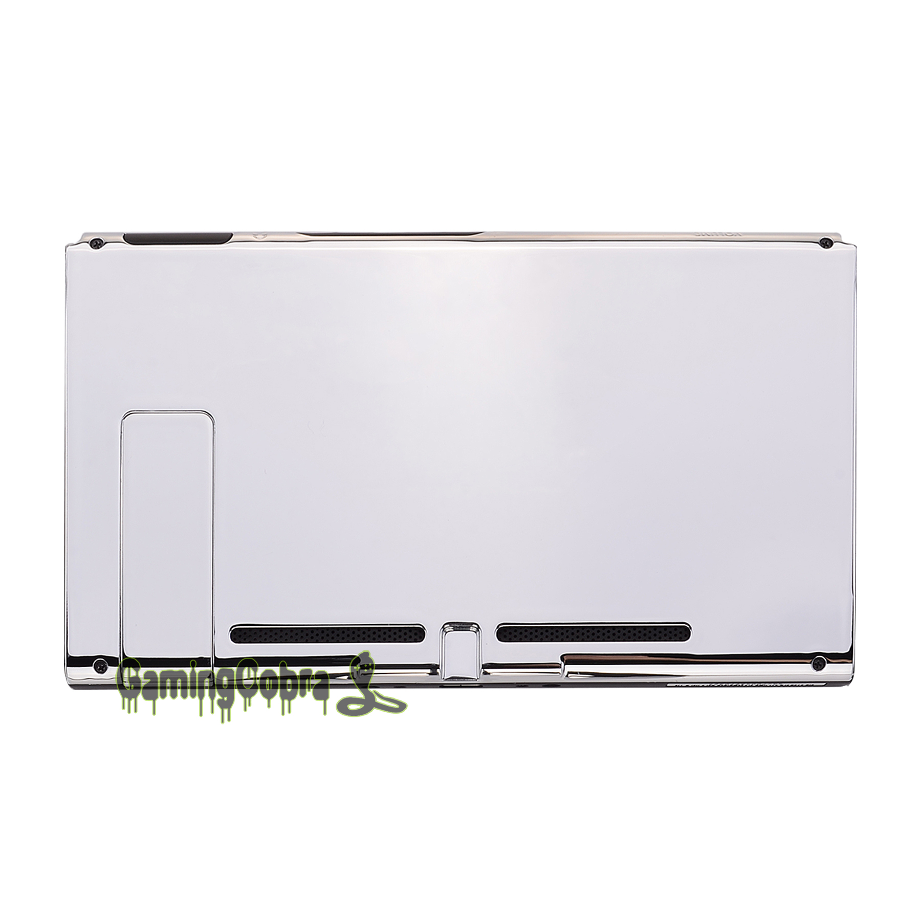 Custom Chrome Silver Console Back Plate DIY Replacement Housing Shell Case  for Nintendo Switch Console with Kickstand - ZD402