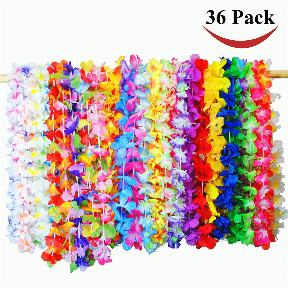 36 Counts Tropical Hawaiian Luau Flower Lei Party Favors Decoration 14 x 3 x 11 inches36 Counts Tropical Hawaiian Luau Flower Lei Party Favors Decoration 14 x 3 x 11 inches