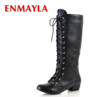 ENMAYLA Newest Style Low Heel Long Boots Women Lace up Knight Boots Shoes Woman Pink White Black Student Shoes