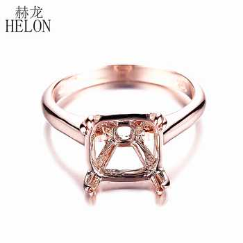 HELON Miss! 9mm Cushion Cut Solid 14k Rose Gold Solitaire Engagement Wedding Semi Mount Fine Jewelry Ring Prong Setting - DISCOUNT ITEM  0% OFF All Category