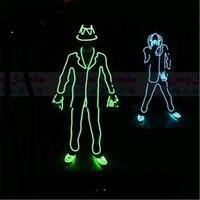 Preço de atacado Led Luminoso Intermitente ELWire Robô Traje Terno Com Cap, Luvas E Sapatos MJ Estilo Desgaste da Dança Roupas