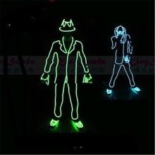 Цена оптовой продажи светодиодный световой мигающий ELWire робот костюм с Кепки, Прихватки для мангала и Обувь MJ Стиль Костюмы Одежда для танцев