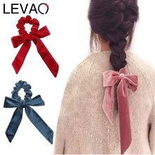 LEVAO Women New Gold Velvet Bow Ribbon Scrunchie Elastic Bohemian Hairband Hair Rubber Ropes Girls Hair Ties Accessories Fashion(China)