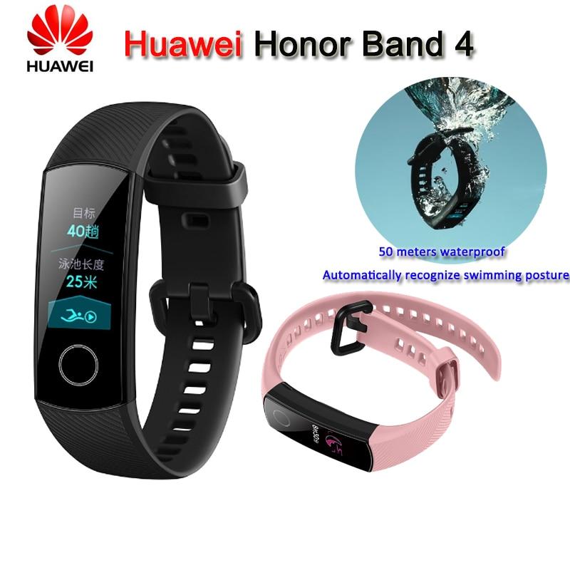 100% Original Huawei Honor Band 4 Smart Armband 50 M Wasserdichte Farbe Ouch Screen Herz Rate Schlaf Snap Smart Armband Lange Lebensdauer