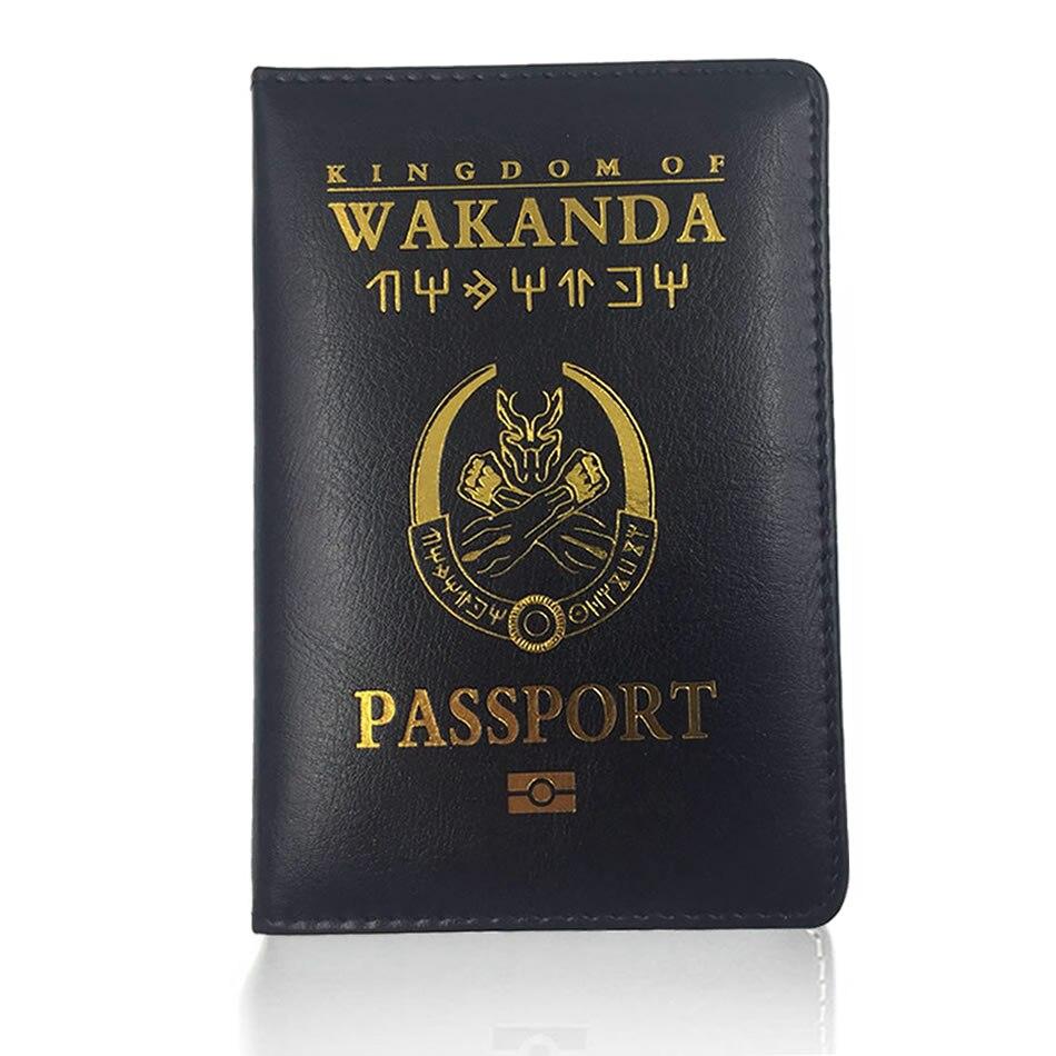 Travel Accessories Wakanda PU Leather Passport Holders Covers ID Bank Card Bag Women Function Passport Business Wallet Case